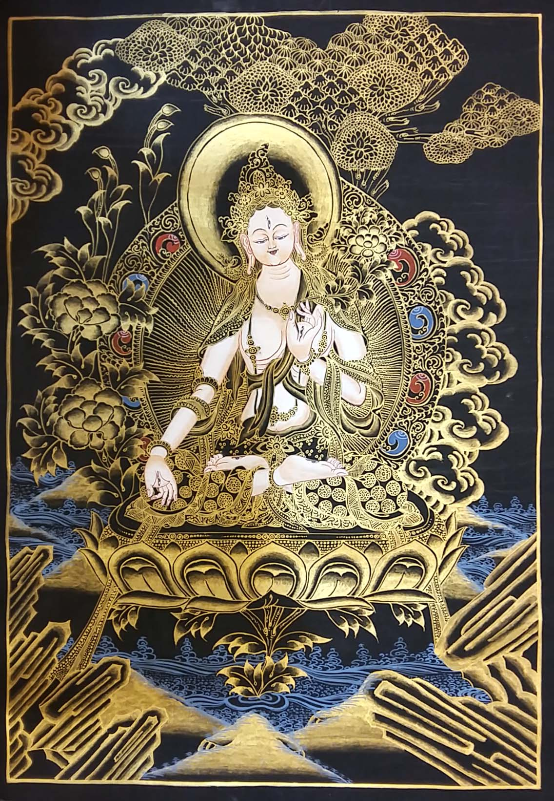 White Tara - Black and Gold Thangka