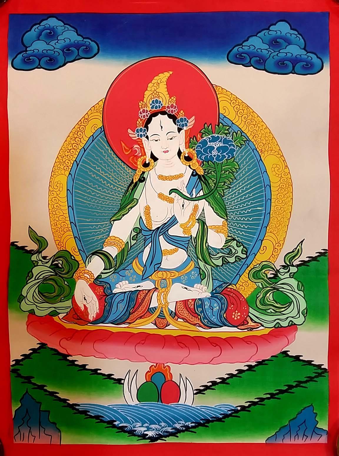 Simple White Tara Thangka Painting
