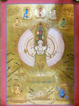 Avalokitesvara with 5 Dhany Buddha Thangka
