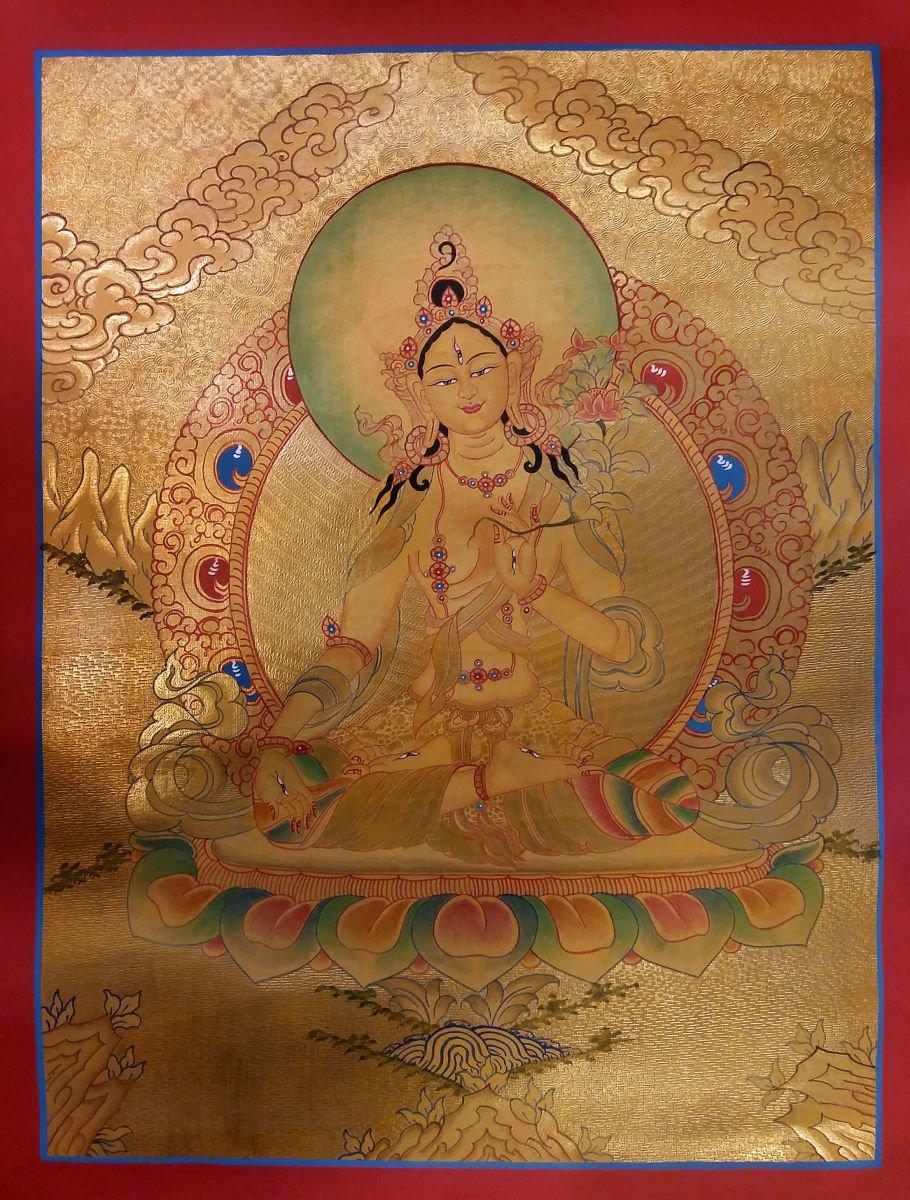 Golden White Tara Thangka
