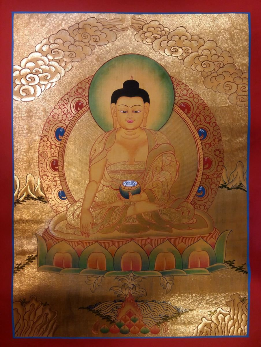Gold Shakyamuni Buddha Thangka