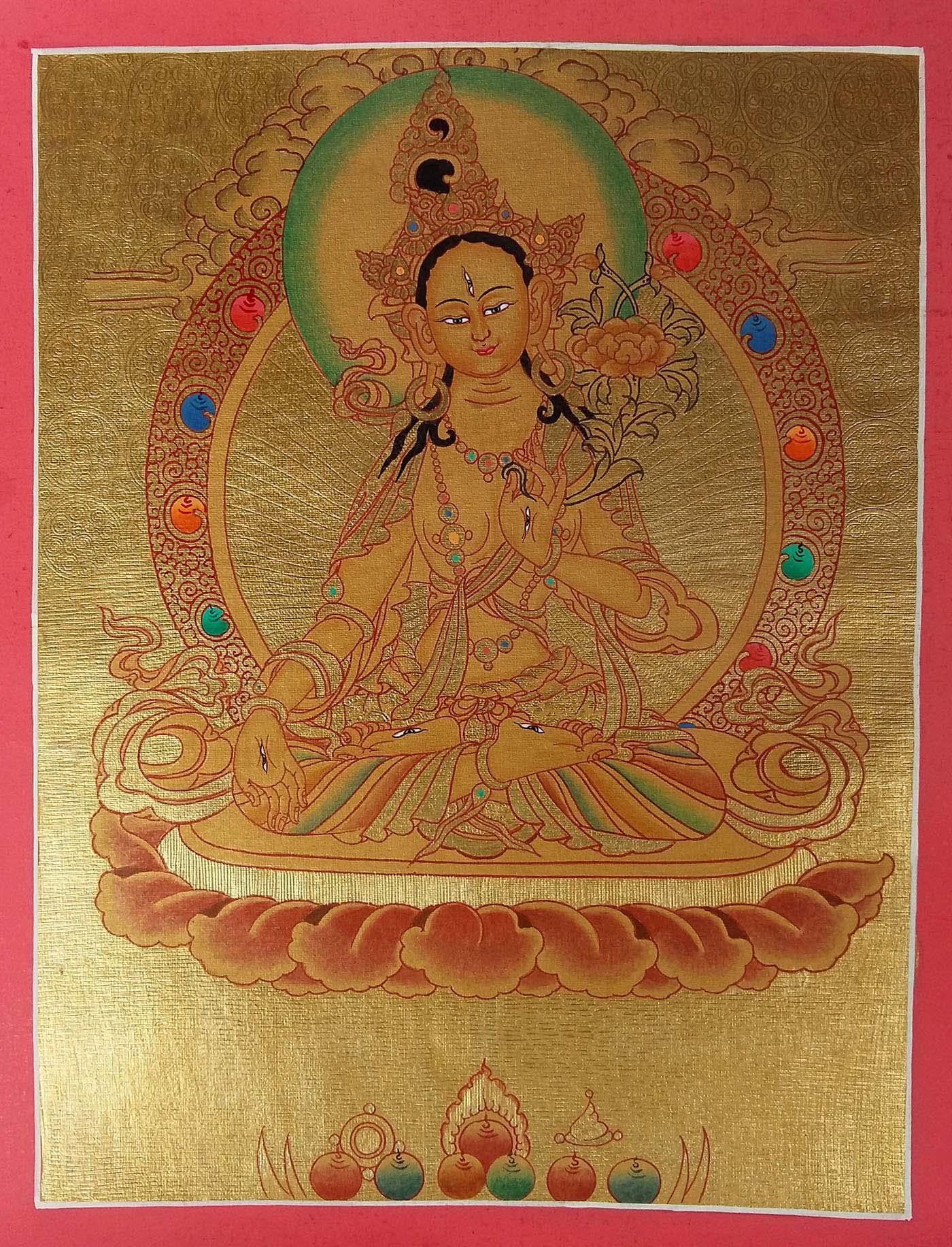 White Tara Golden Thangka