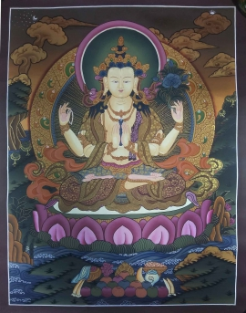 Tibetan Thangka of Bodhisattva Chenrezig is handpainted on cotton canvas. Chenrezig is also known as Avalokitesvara, the Buddha of infinite compassion.