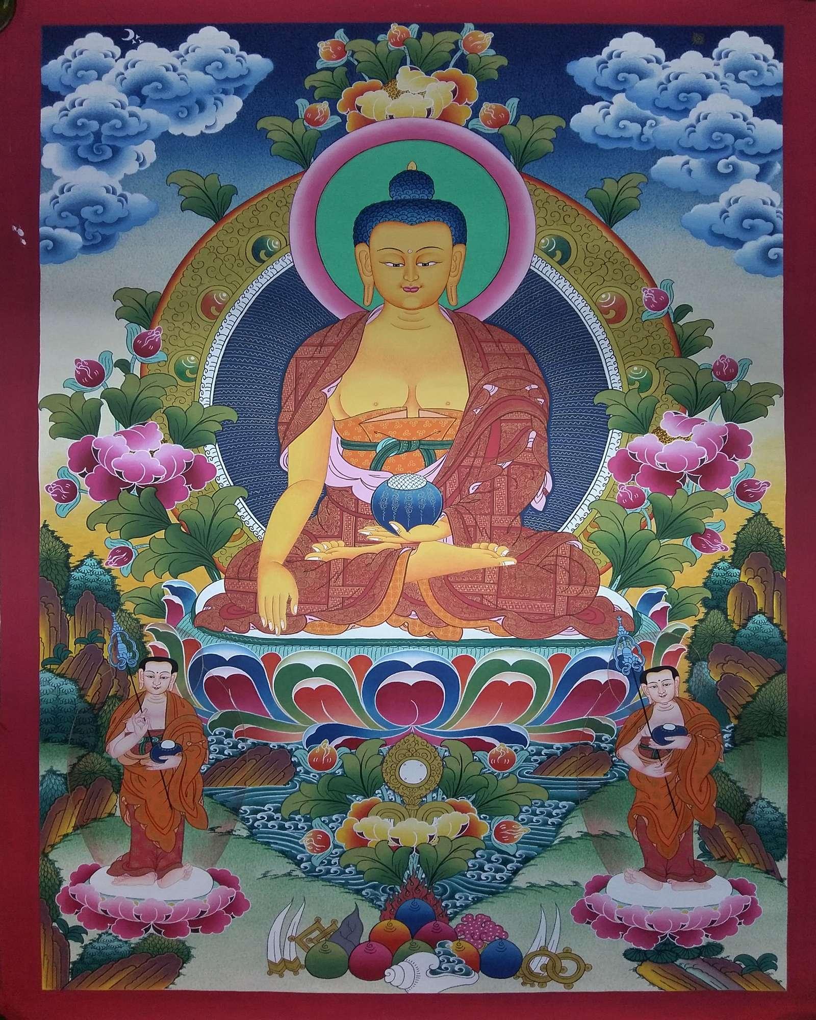 Tibetan Shakyamuni Buddha with 2 standing God