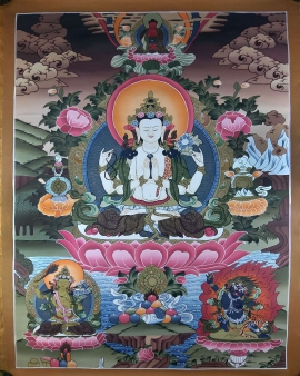 Chenrezig with Manjushree & Vajrapani Thangka
