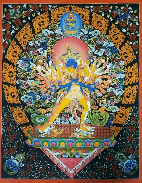 Newari Style Kalachakra Shakti Thangka Painting