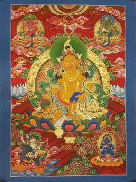 Five Jambhala Traditional Thangka