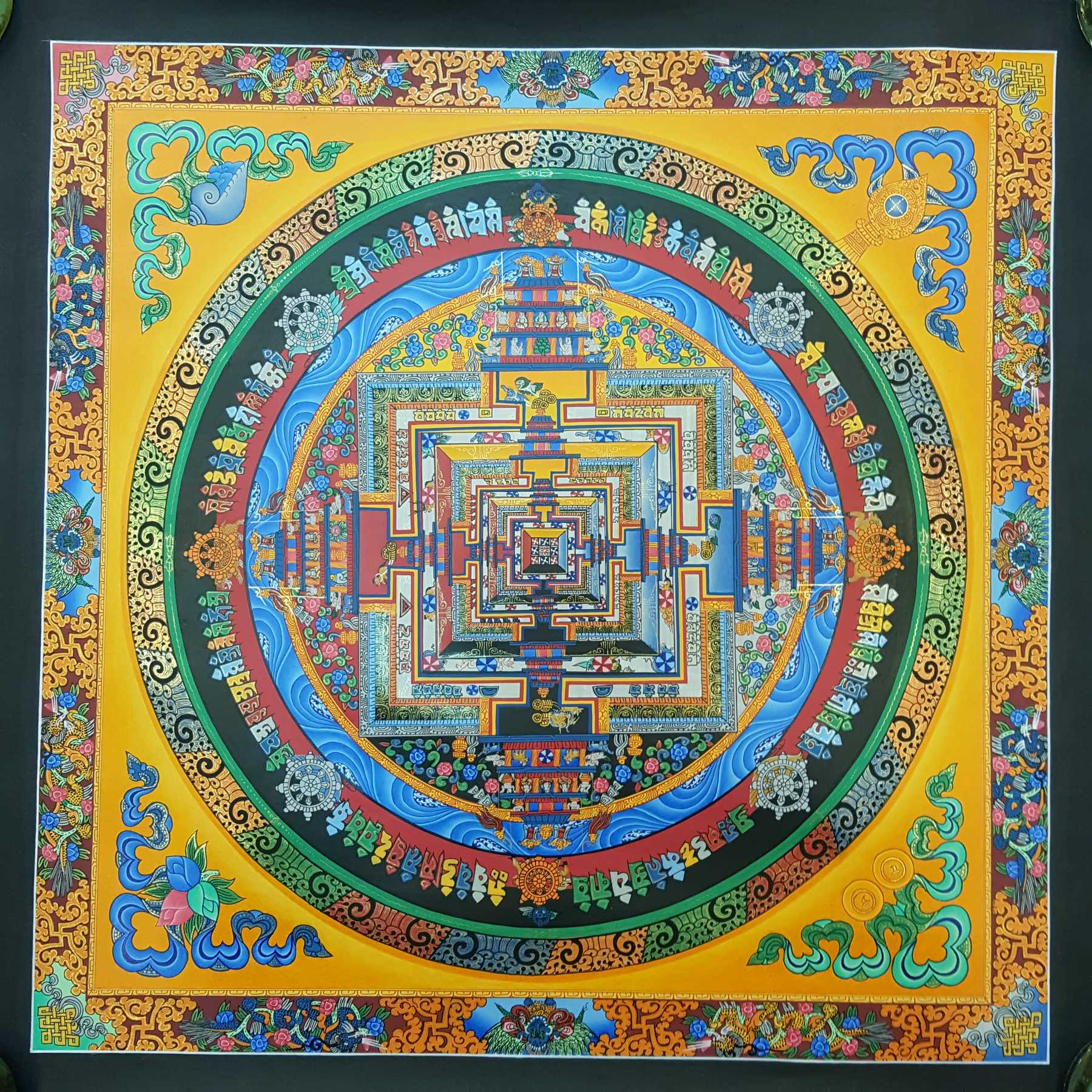 Handpainted Dragon Kalachakra Mandala