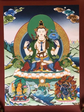 Chenrezig with Manjusri and Vajrapani Tibetan Art