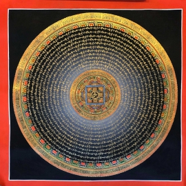 Traditional Tibetan Om Mantra Mandala Art