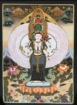 Tibetan Thangka of 100 Armed Avalokitesvara