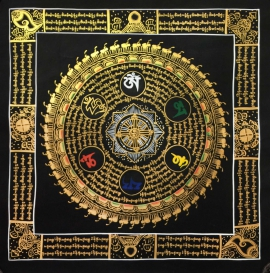 Traditional Mantra Mandala with Auspicious symbols