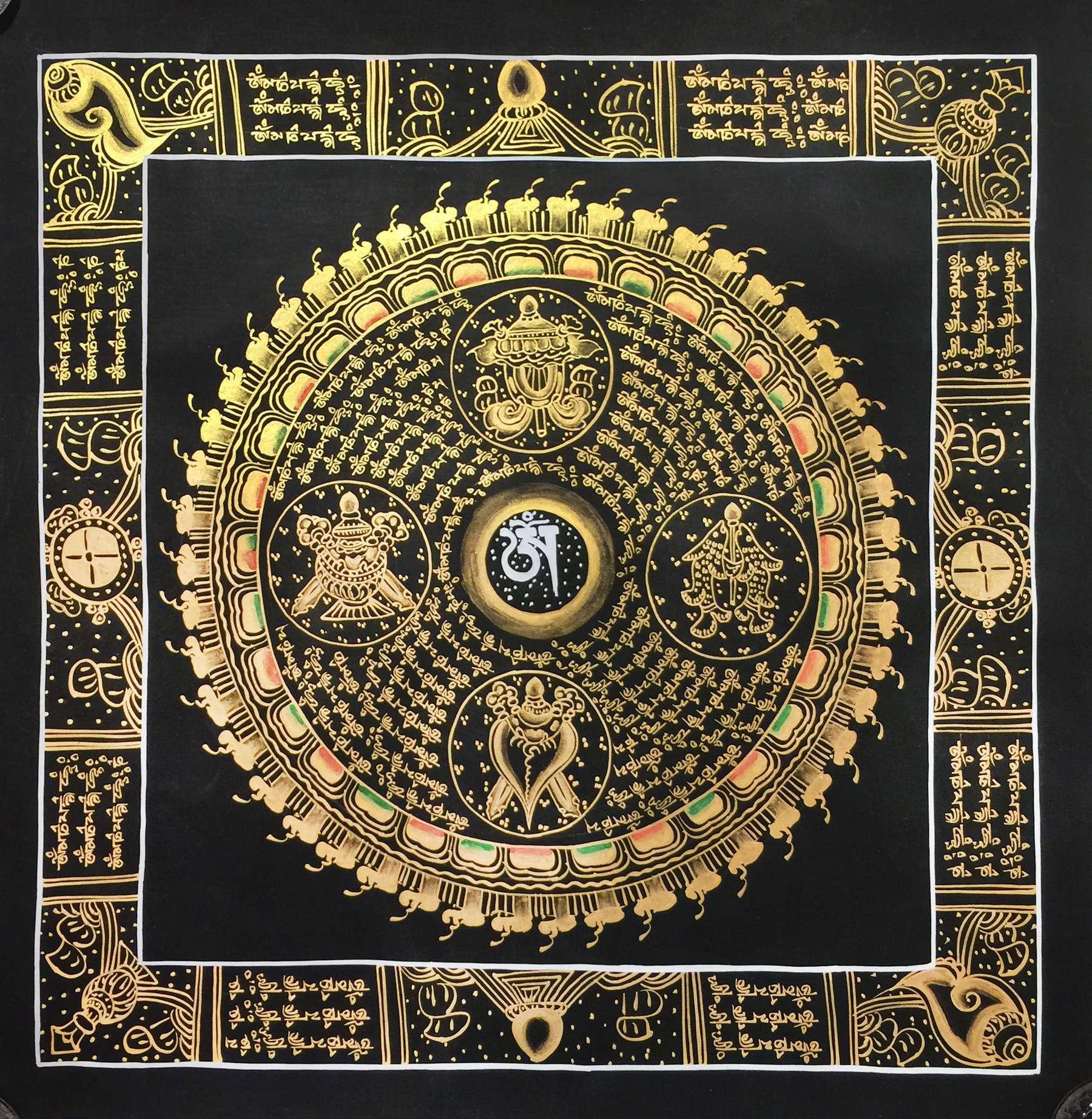 Traditional Mantra Mandala with 8 Auspicious symbols ...