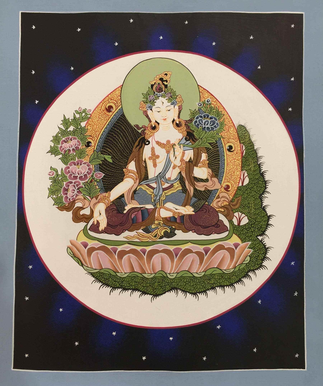 Thangka of Goddess White Tara