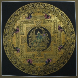 Black and Gold Green Tara Mandala
