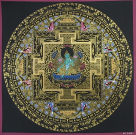 Black and Gold Green Tara Ritual Mandala