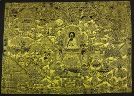 Black and Gols Buddha Life Story Thangka