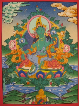 Tibetan Traditional Thangka of Green Tara