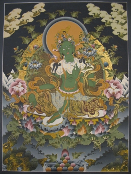 Green Tara Traditional Tibetan Thangka