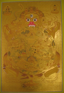 Golden Wheel of Life Traditional Thangka