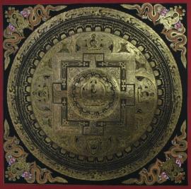 Black and Gold White Tara Traditional Mandala
