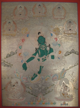Tibetan Thangka of Green Tara with 5 Dhyani Buddha