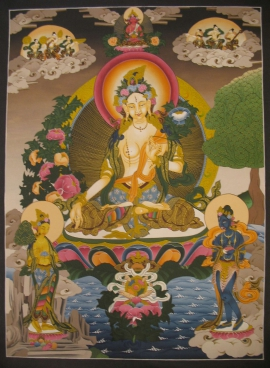 White Tara Thangka with Amitabha Buddha