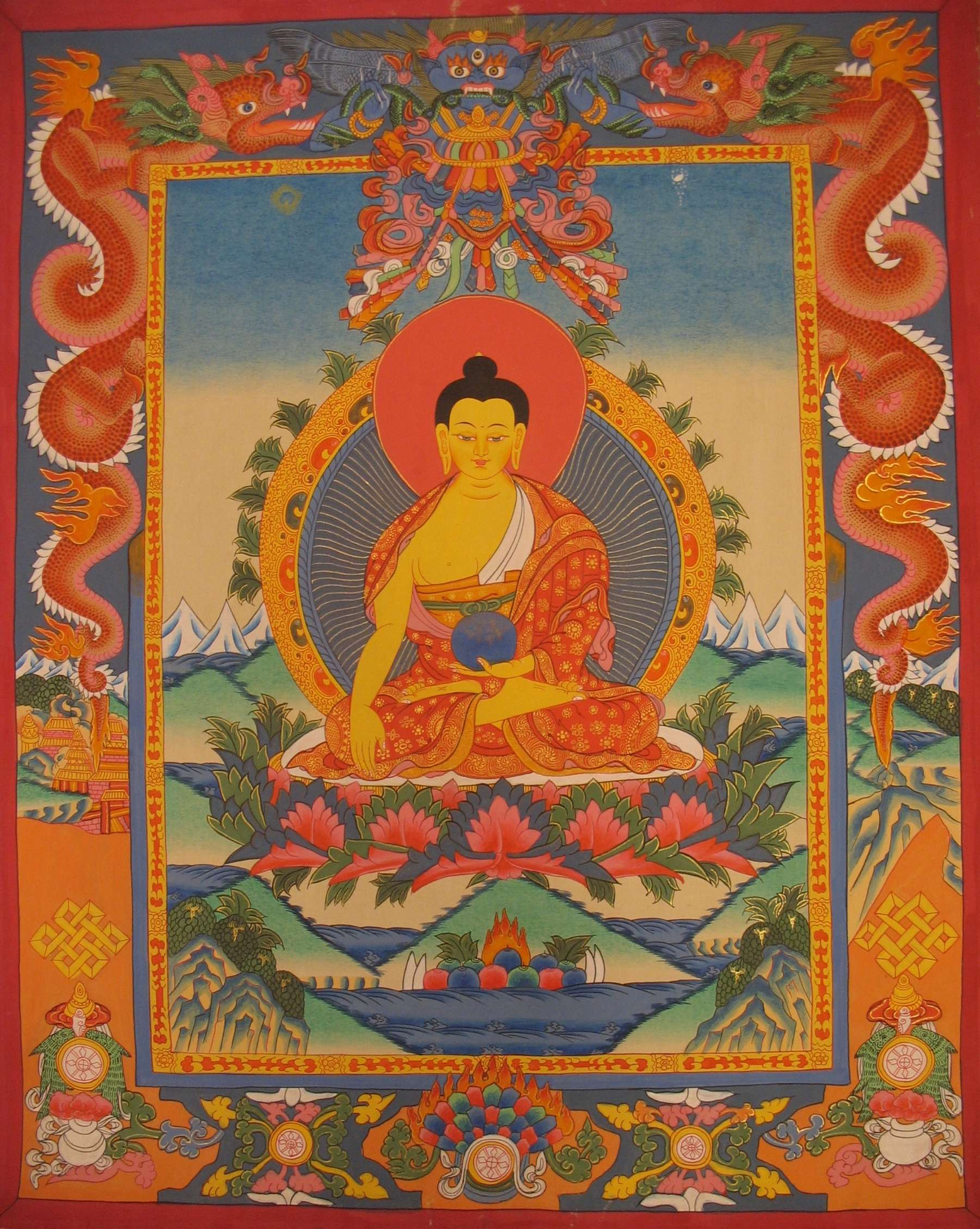 Shakyamuni Buddha Thangka with Dragon