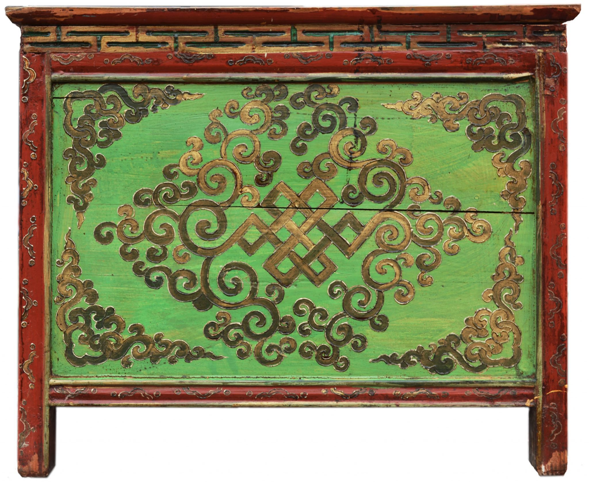 A green endless knot painted cabinet