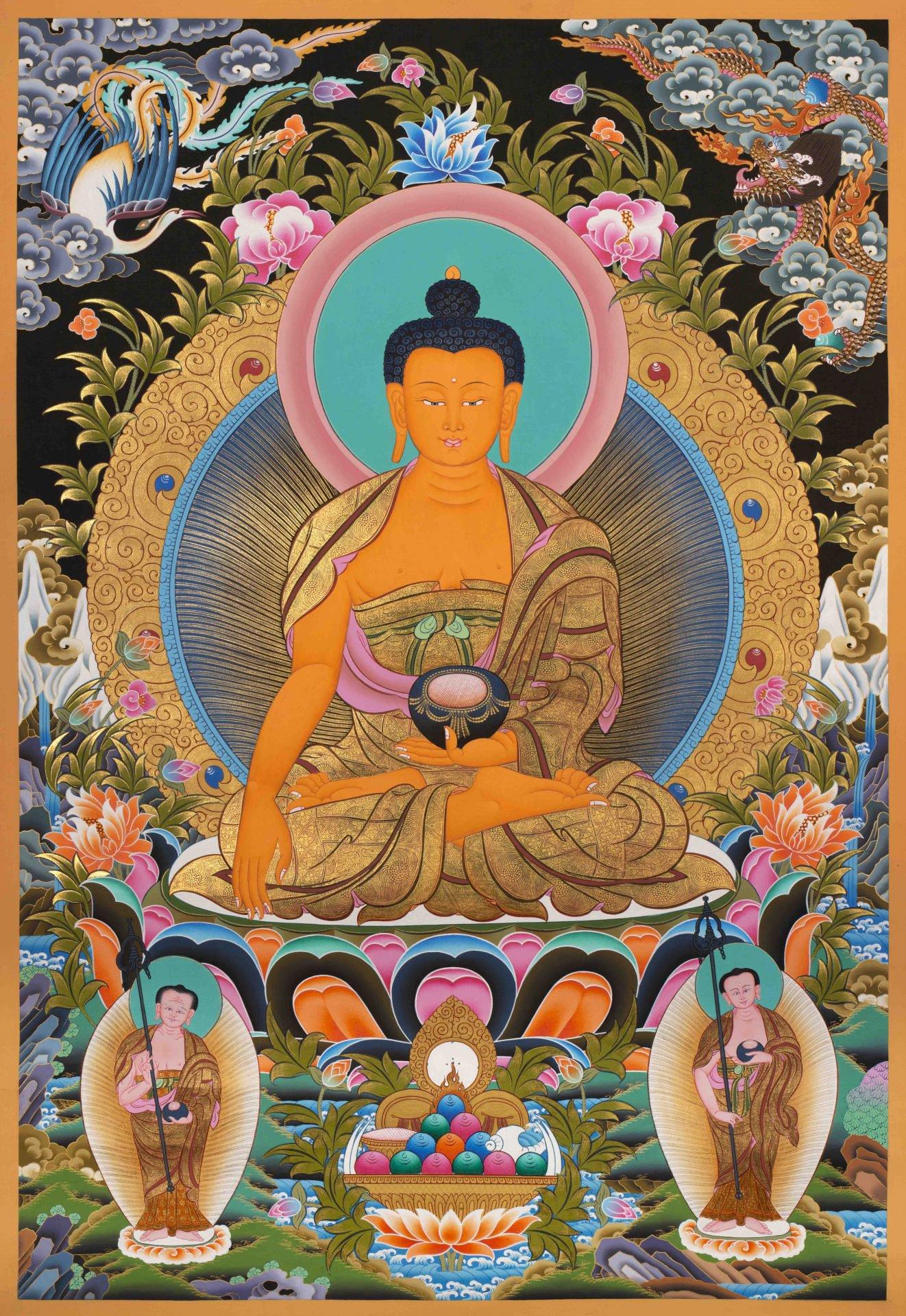 Shakyamuni Buddha with Shariputra and Maudgalyayana Thangka